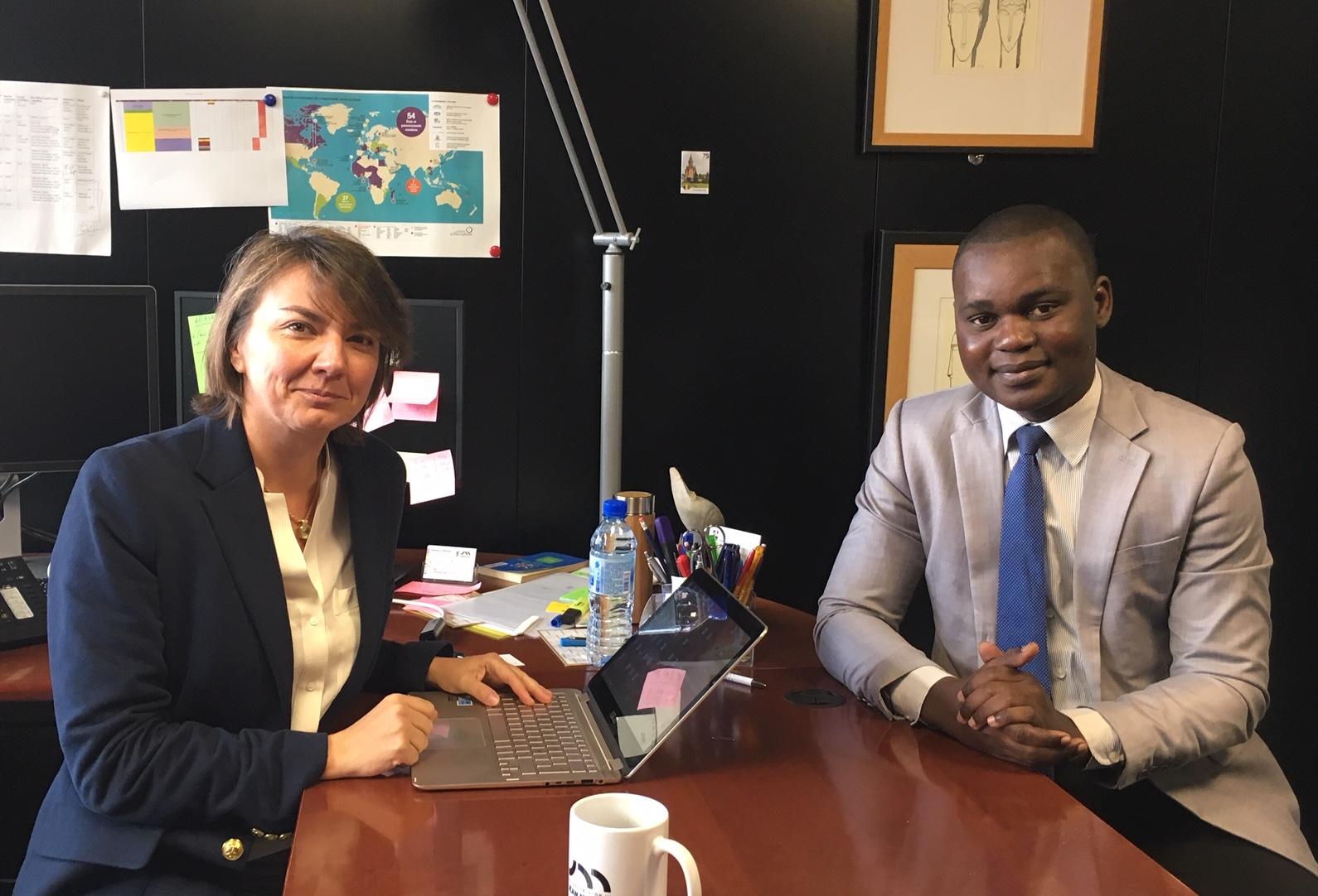 Marielle PAYAUD, directrice de 2IF avec Mahougnon Emmanuel Odilon KOUKOUBOU