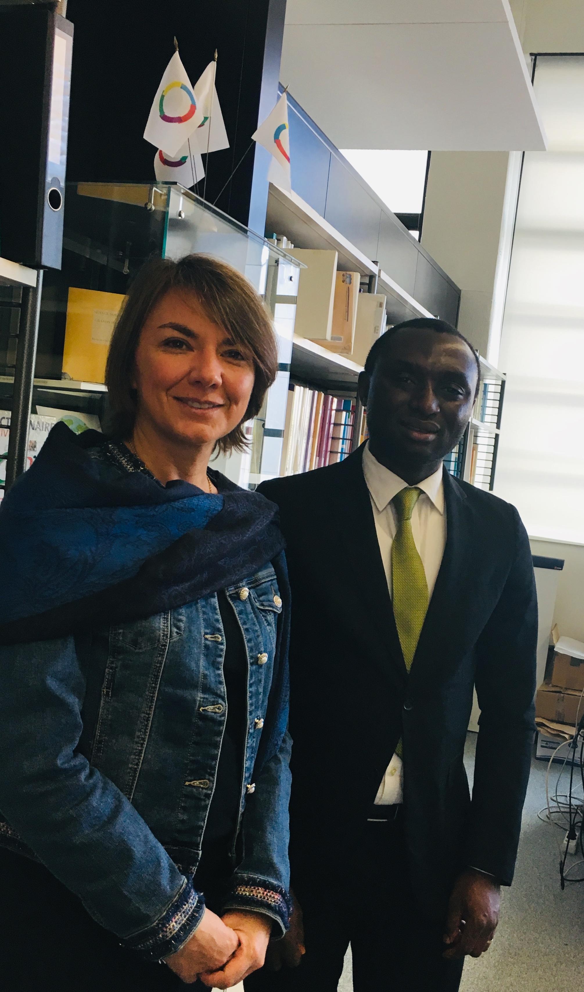 Marielle PAYAUD, directrice de 2IF avec Duvalier KALA NGUMOUO